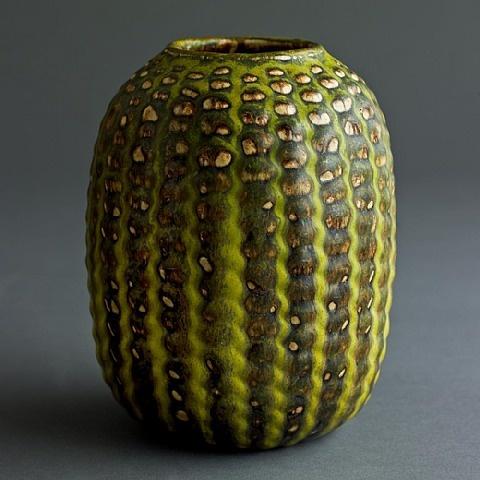 Axel Johann Salto, Axel Salto for Royal Copenhagen stoneware vase with Solfatara glaze , signed with markings