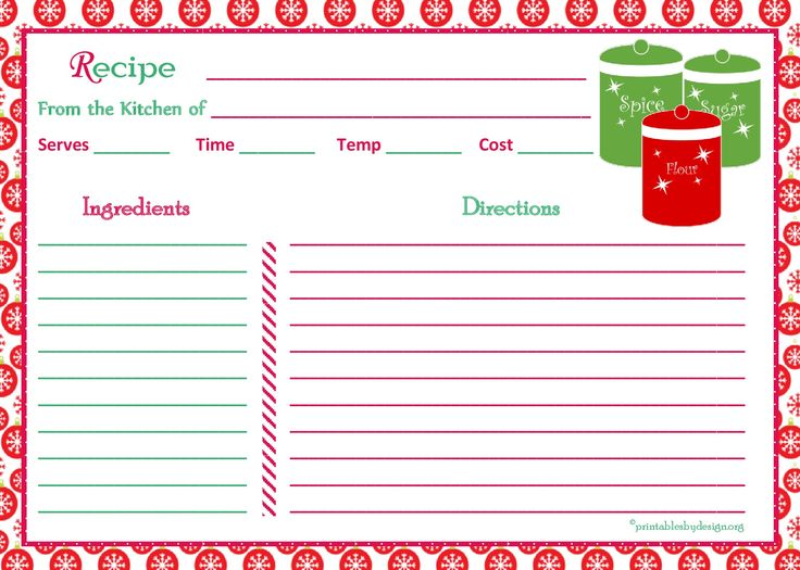 holiday recipe card template free
