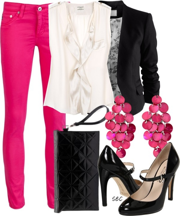 """Fushia fall"" by coombsie24 on Polyvore. Need those pants, earrings, and most importantly the shoes stat."