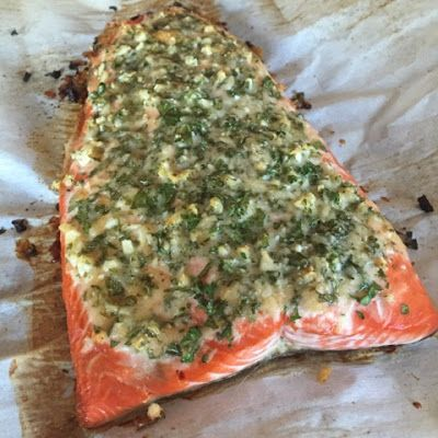 Parmesan Herb Crusted Salmon - 21 Day Fix approved dinner recipe 1 red 1 blue