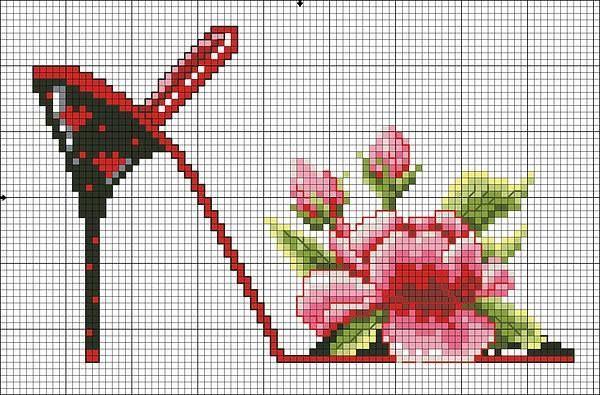 point de croix chaussures, talons aiguilles noir et rouge avec fleur rouge - cross-stitch black and red shoes, high heels stilettos with red flower