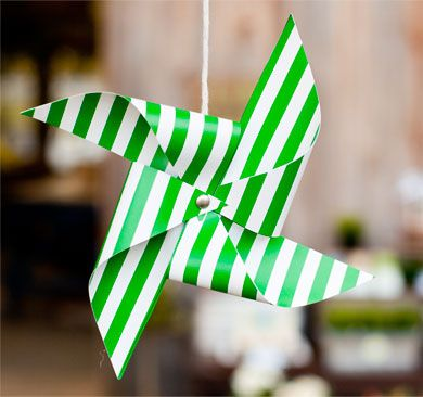 Free Printable Decorative Pinwheels | Pottery Barn Kids - Perfect for Summer! Navy, Green + Yellow Stripes available!
