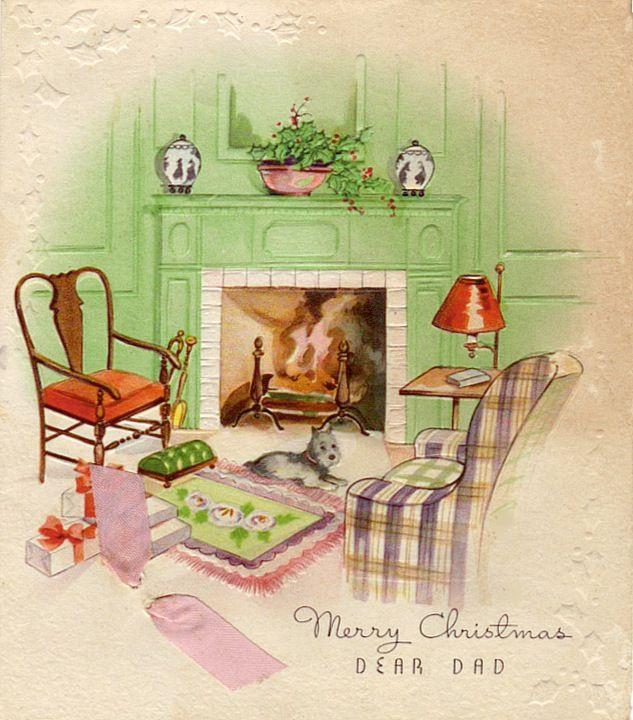 Fireside dog at Christmas.