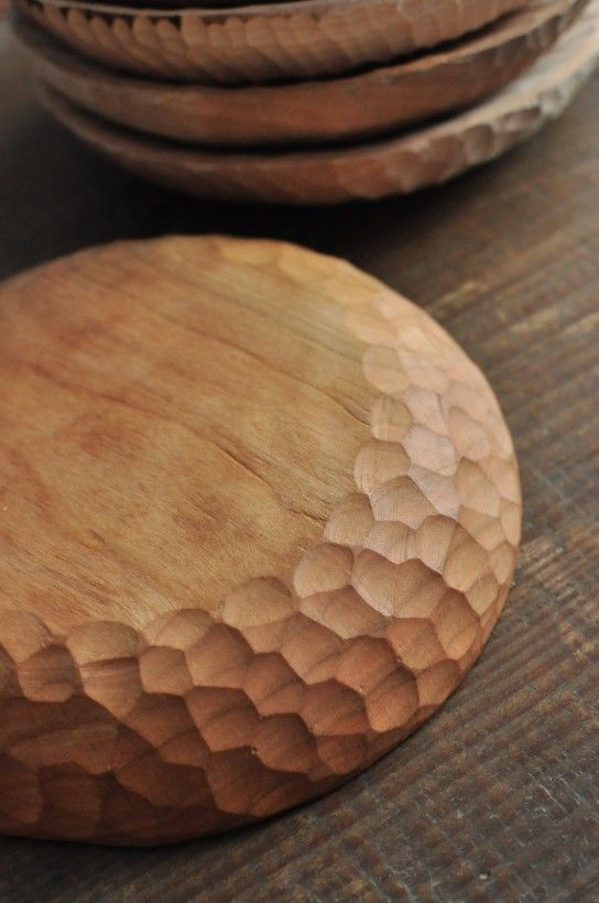 textured bowl with carving  [I'm surprised there isn't more of this technique - I find it quite attractive]