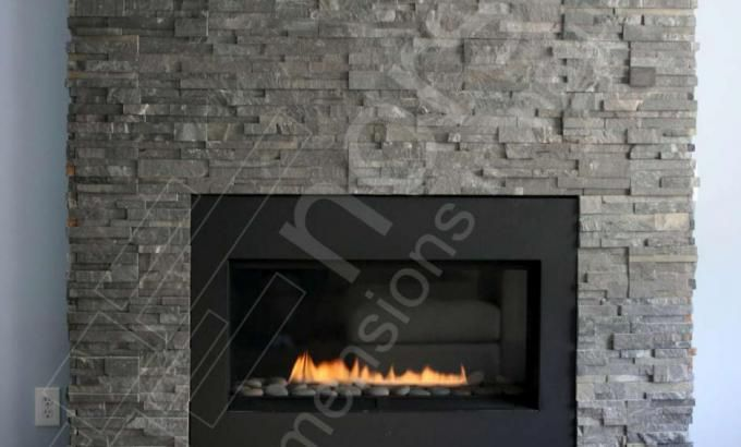 Natural Stacked Stone Veneer Fireplace Fireplaces Pinterest