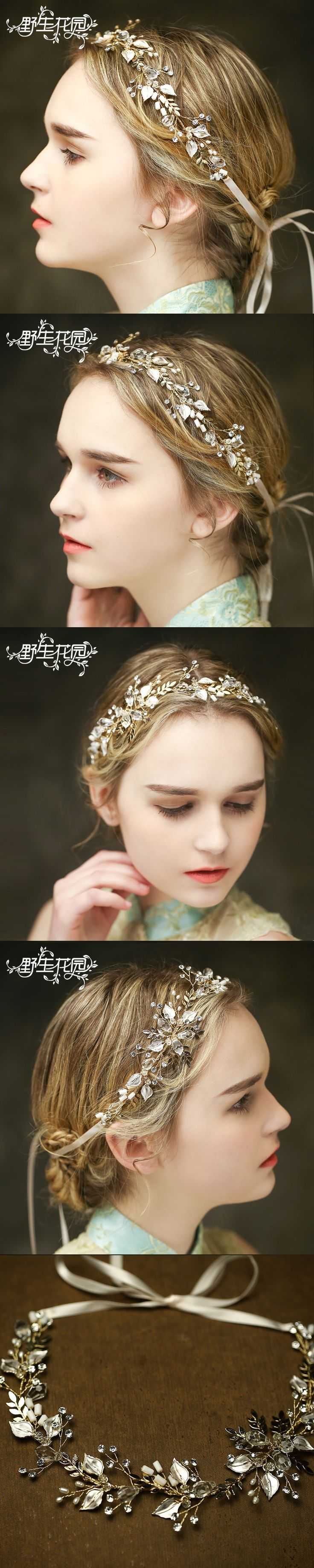 Fashion Jewelry Crystal Leaves Flower Handmade Hair Combs Headbands Hair Jewelry for women acessorio para cabelo