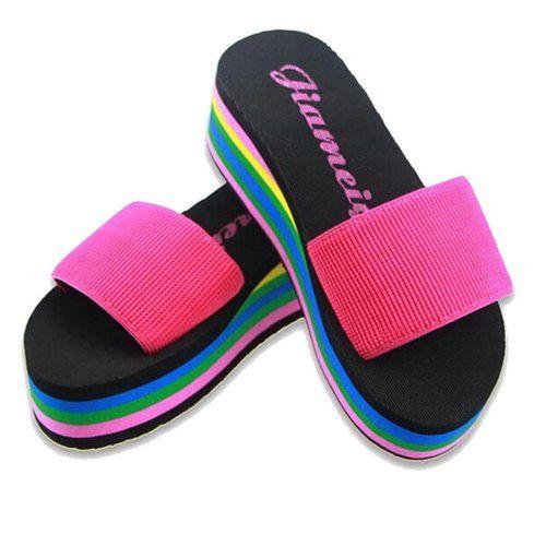 CULATER Women's Rainbow Summer Non-Slip Beach Slipper Shoes (7.5, Hot Pink)