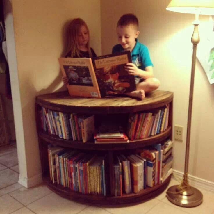 Wire Spool ideas | Spool bookcase