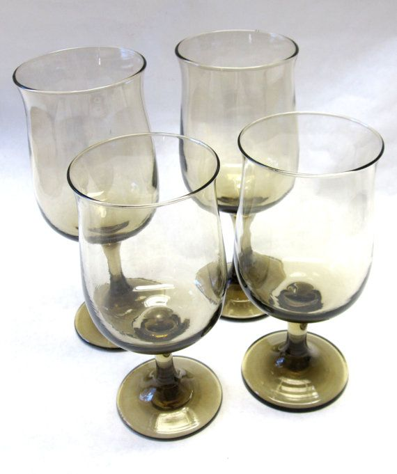 Smokey Brown Stemmed Wine Drinking Glasses Set by sweetie2sweetie, $10.99