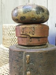 Scandinavian Baskets and Pots. Small bentwood box mid 19thC. Early 19thC pokerwork bentwood with locking lid. Lidded pot with original paint.