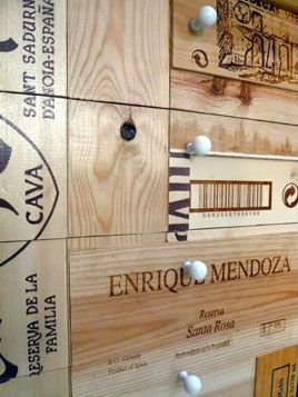 recycled wooden wine boxes...cabinet veneers!