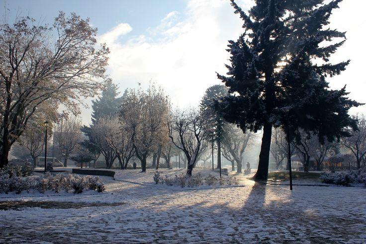 Plaza de Coyhaique en invierno.