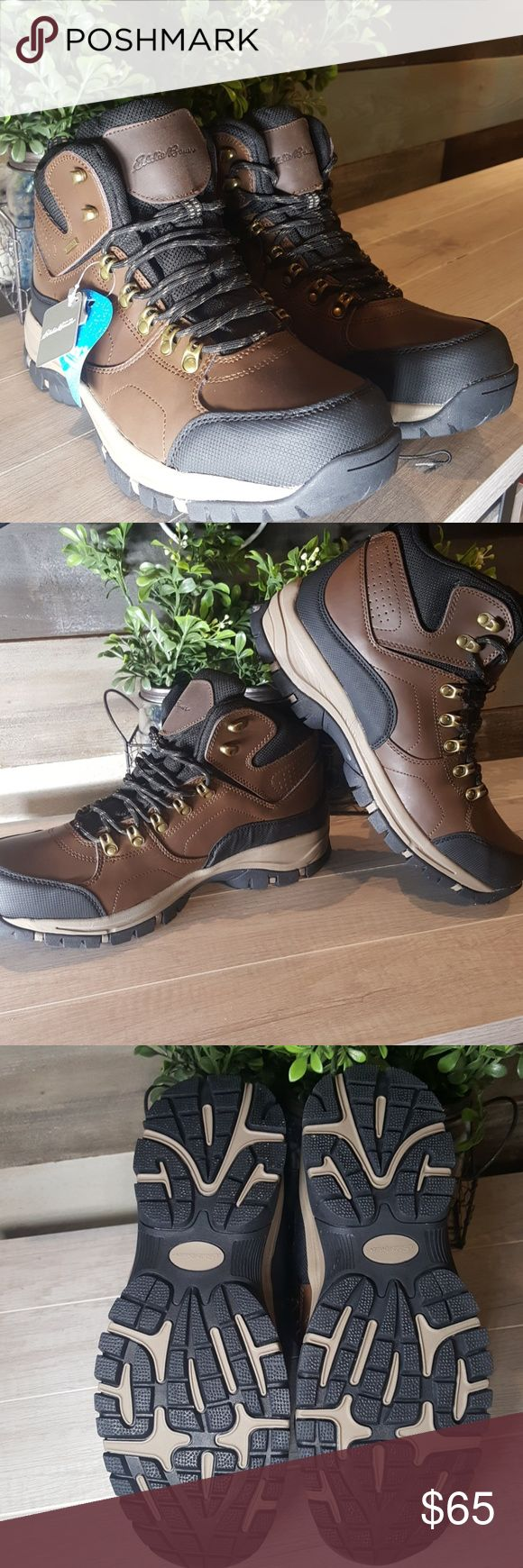 Eddie Bauer Men's Hiking Boots Eddie Bauer men's hiking boots. Waterproof. Lightweight flexible midsole. Leather upper. Cushioned insole. Style:Brad. Box not included. Eddie Bauer Shoes Boots