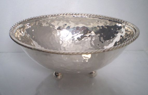Sterling Silver 925 OVAL BOWL Hammered Handmade by SilverArtGifts