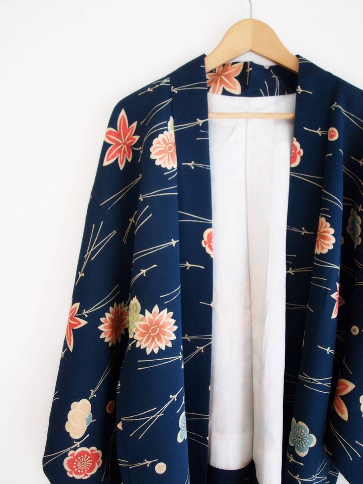 Denim Blue Haori - Japanese kimono Jacket, Blue Kimono Cardigan, maple ume and kiku pattern, gift for women, sustainable fashion http://etsy.me/2F7yIB7