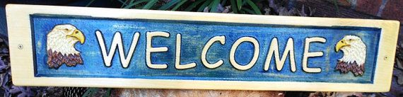 Welcome Plaque  3D eagle carving with blue background.  Handpainted, crafted from pine by CarvedByHeart, $42.99