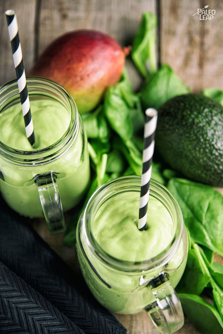 Mango, Avocado, And Spinach Smoothie - A smoothie with a tropical flavor and a big dose of healthy fats - try it as a treat or as a dessert. #Paleo #Whole30