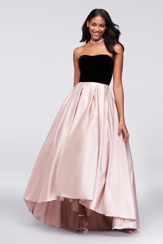 0a5a391b1d Velvet and Mikado Strapless Ball Gown - Black   Blush