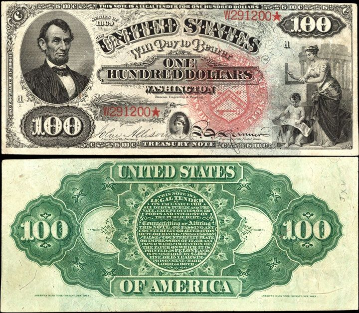 US 100 Dollar Note 1869 Serial# W291200* Signatures: Allison / Spinner An allegory representing Architecture / Liberty Portrait: Abraham Lincoln