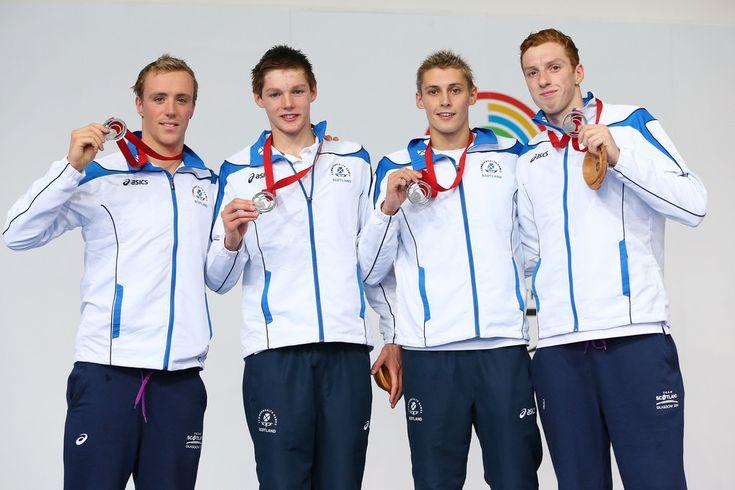 (L-R) Silver medallists Robbie Renwick, Duncan Scott, Stephen Milne and Daniel Wallace of Scotland