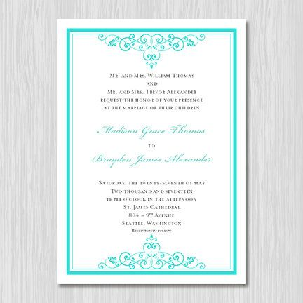 34 best TIFFANY BLUE wedding invitations images on Pinterest - free printable wedding invitation templates for word