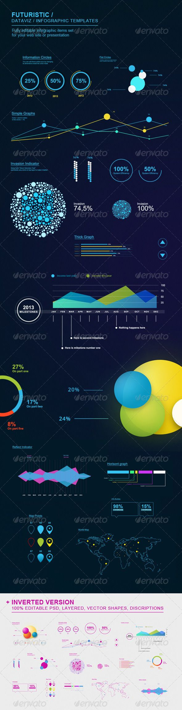 Futuristic Infographic Elements Set Template PSD. Download here: http://graphicriver.net/item/futuristic-infographic-elements-set/3240765?s_rank=121&ref=yinkira