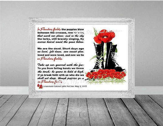 Poppy Art In Flanders Fields Art War Veteran Word Art Gift