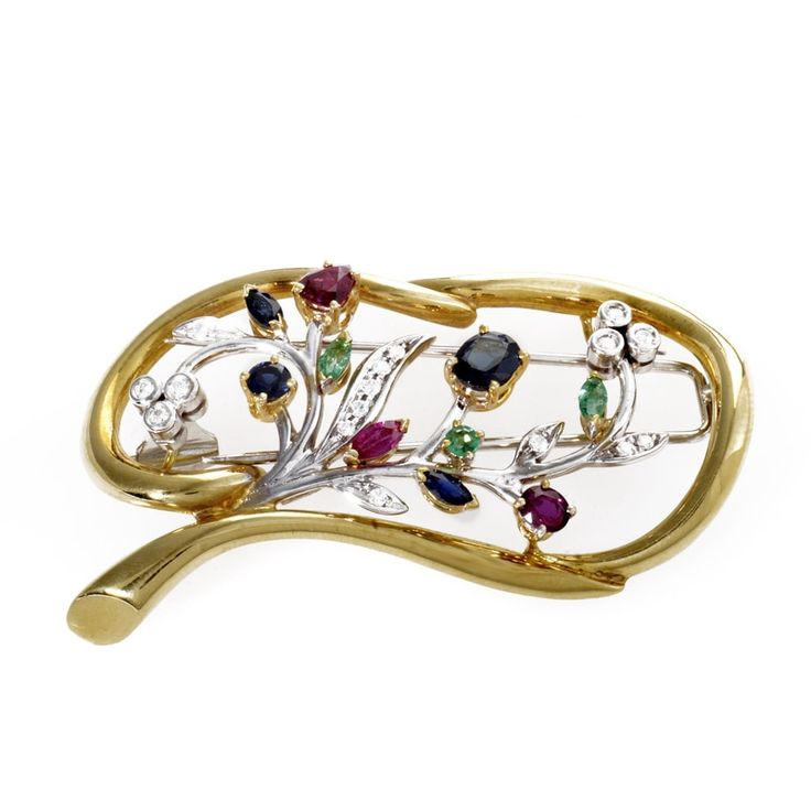 Italian Collection 18K Multi-Gold & Precious Gemstone Brooch ITA06-061214