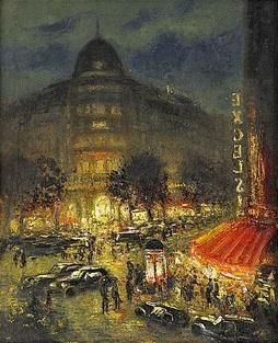 BOULEVARD HAUSSMANN, PARIS By Ludolfs Liberts. This reminds me so much of my first night in Paris. I like all of these by Latvian artist.