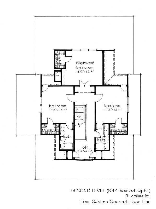 2 341 sq ft four gables l mitchell ginn Gable house plans