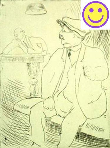 #wow Brinton,D. #UNTITLED [GENTLEMAN OBSERVING BILLIARDS GAME]. Drypoint,n.d. (c. early to mid-20th Century). 8 x 6 inches (image),11 1/2 x 8 inches (sheet). In ...