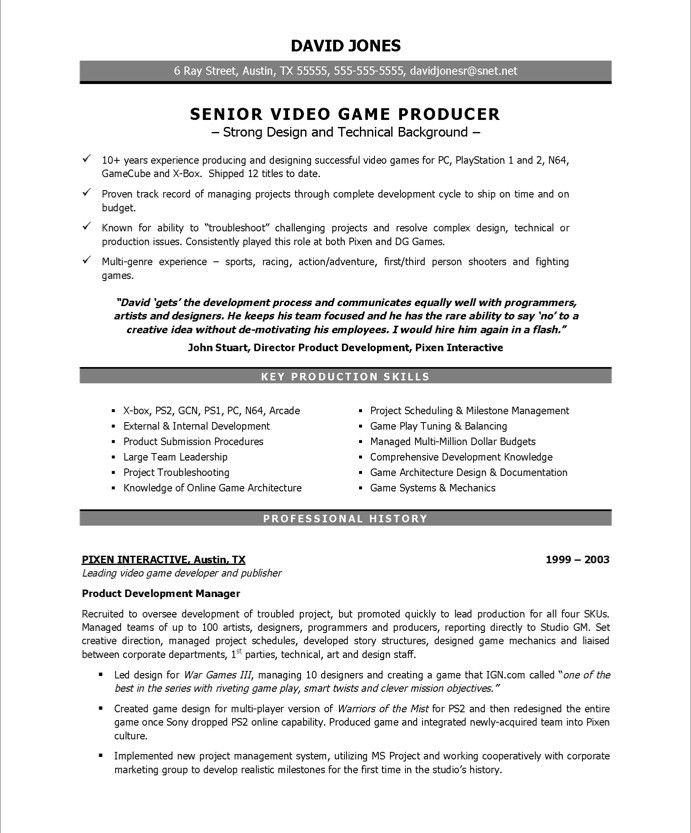video game producer page1. Resume Example. Resume CV Cover Letter