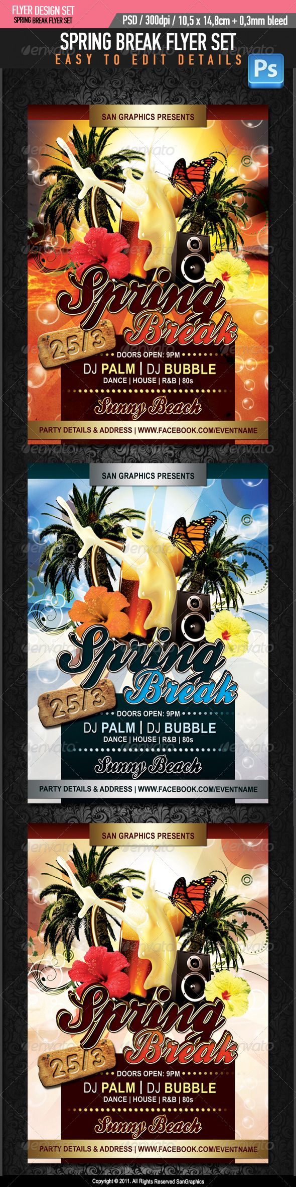 Spring Break Beer Flyer  #GraphicRiver         Spring Break Beer Flyer     • Simple and organized PSD files in Layers  • 300 DPI  • Easy to use  • CMYK  • Print Ready with Bleed Margins 0.3mm  • Dimensions 10,4×14,8cm  • Fonts used:     Arial    Ballpark   .dafont /ballpark-weiner.font  Debussy   .dafont /debussy.font   (Please don't forget to rate this item if you like it, thanks!)     For more graphics, visit San Graphics                                           Created: 1March12 GraphicsFilesIncluded: PhotoshopPSD Layered: Yes MinimumAdobeCSVersion: CS3 PrintDimensions: 10.4×14.8 Tags: San #beach #beer #bubbles #butterfly #class #club #college #event #flyer #graphics #greak #holiday #night #palm #party #school #spring #sun #template #tree #university