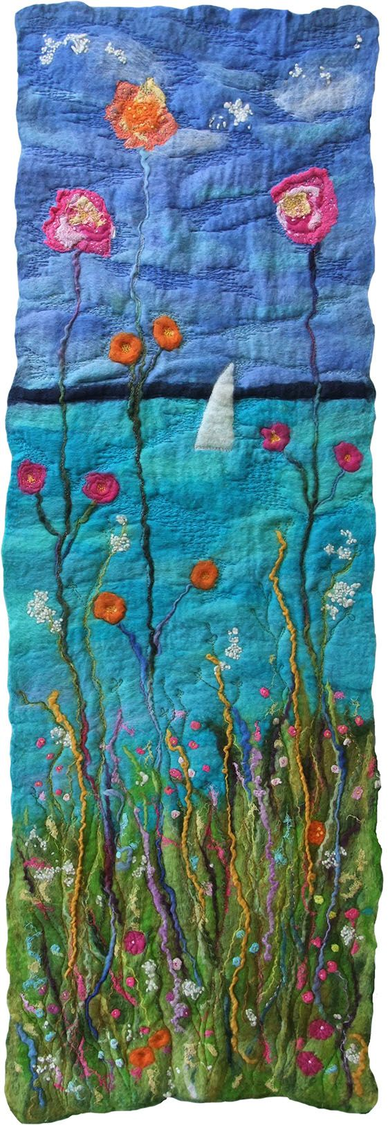 Handmade Felt and Stitch Wall Hanging Flowers Artwork