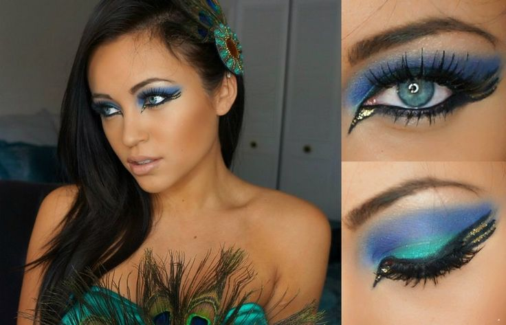 Make-up Idee zum Pfau Kostüm
