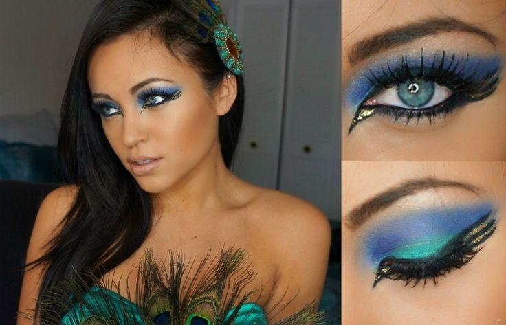 Make-up Idee zum Pfau Kostüm
