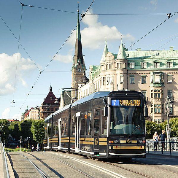 Flexity Classic tram in Stockholm, Sweden.