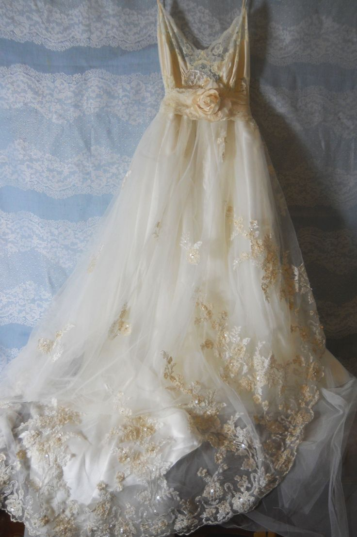 Wedding dress beaded lace bride  bridesmaid by vintageopulence, $325.00