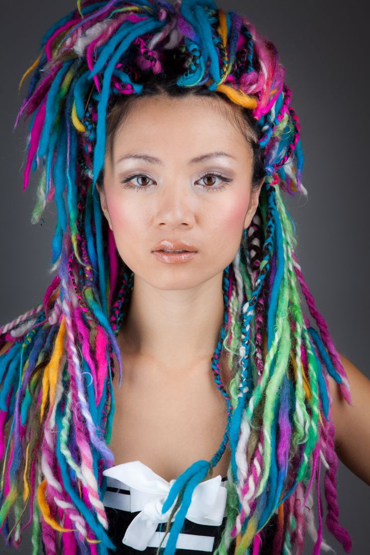 Cool Yarn Hair Rainbow Yarn Braids