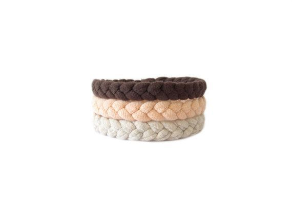 Handmade braided bracelets made from brown, pink and cream cotton t-shirt yarn. They are soft and comfortable to wear, easily goes with an outfit young and casual.