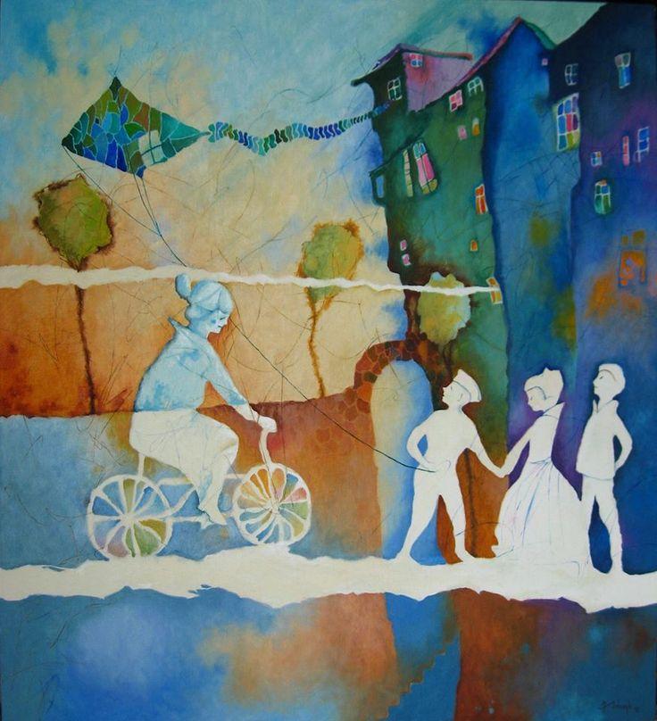 Dzieci poczekajcie na babcię, Płótno, olej - 60 x 80 cm - 2013 r