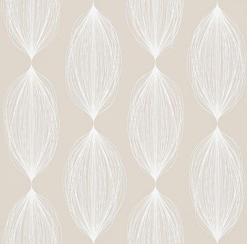 Sobert tapetmönster i retrostil i beige nyans från kollektionen Flora  898026. Klicka för att se fler fina tapeter för ditt hem!