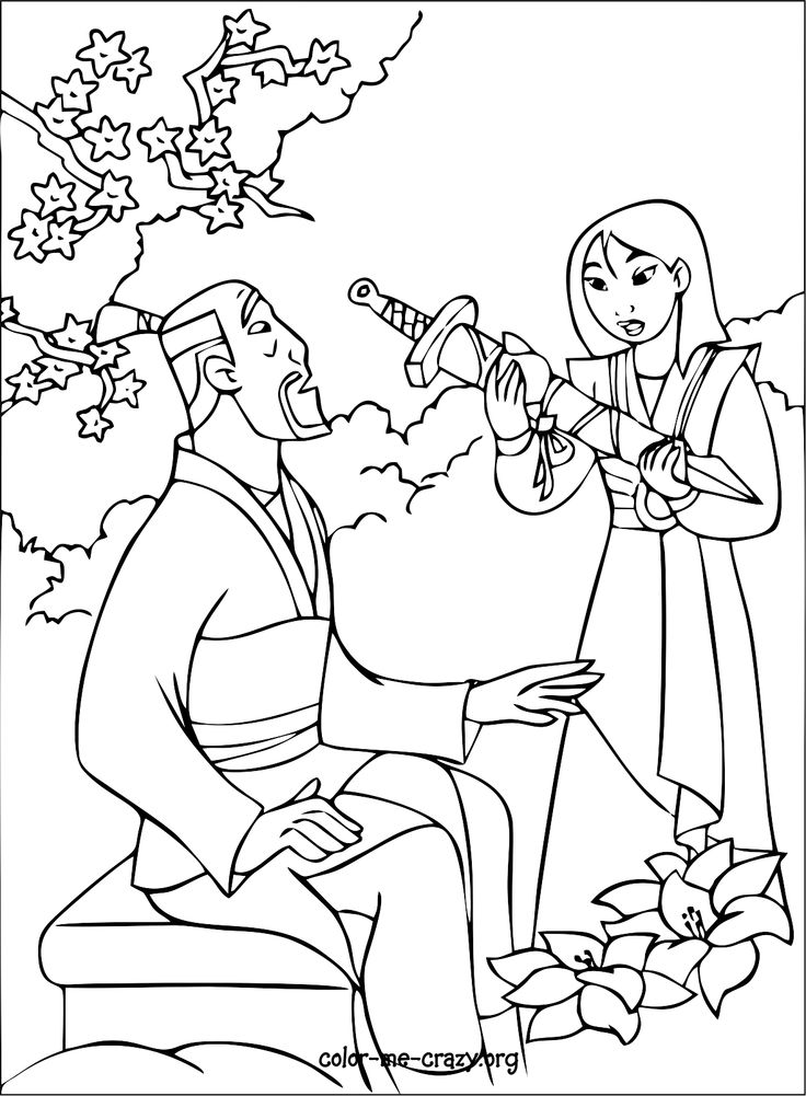 Mulan Coloring Page Coloring pages and tips Pinterest