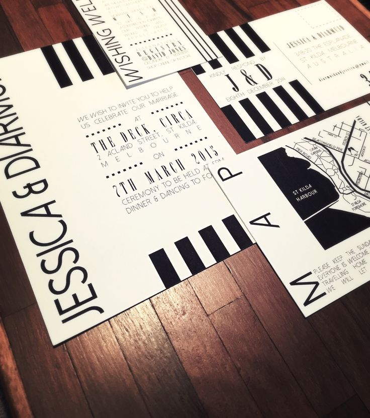 Black and white modern wedding invitation set. Go to www.lovemytype.com.au