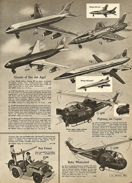 Toy Airplanes in Montgomery Ward Christmas Catalog, 1968, by Wishbook, via Flickr.  I had a battery operated plane similar to the TWA one at the top.