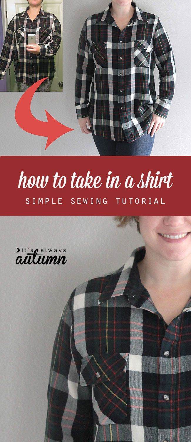 Sewing beginners - great tutorial showing you how to take in a shirt to make it smaller the right way. easy to follow sewing tutorial.