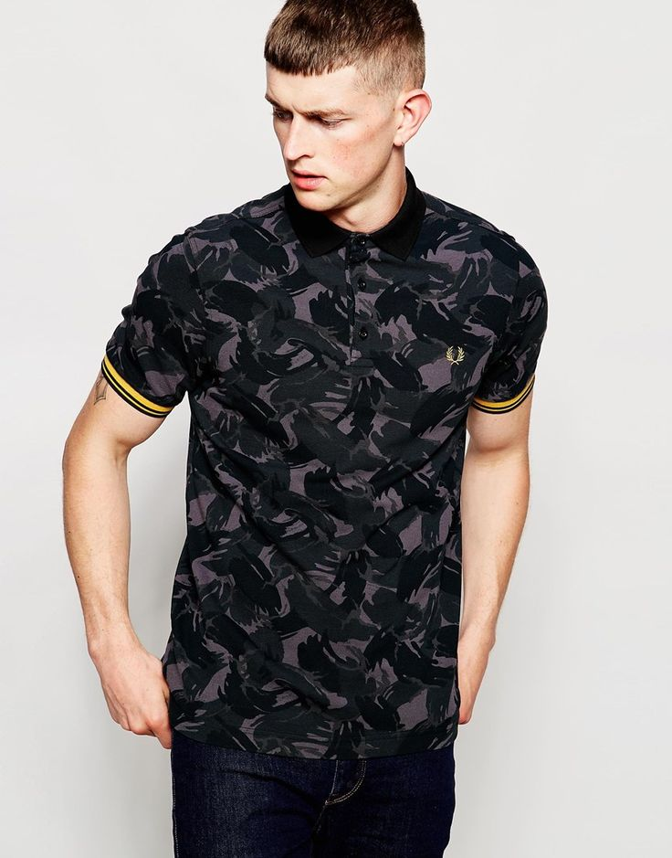 Image 1 ofFred Perry Polo Shirt in Camo Print Slim Fit