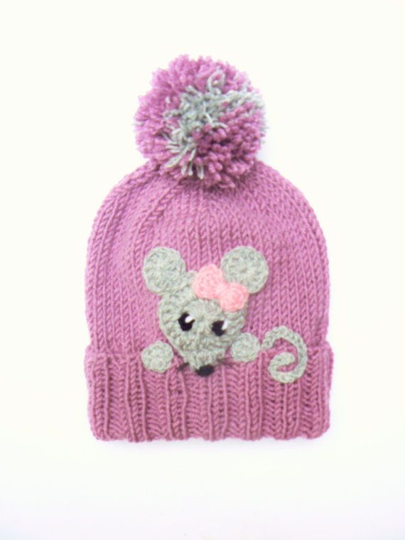 Kids Hat Knit Girls Hat with Mouse Winter Pom Pom Hat by 2mice