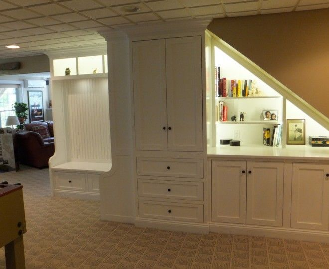 Splashy Under Stair Storage fashion Ottawa Traditional Basement Decorators with Custom Cabinetry drawers handle knobs shelves Staircase stairs storage white was last modified: April 12th, 2015 by Donna