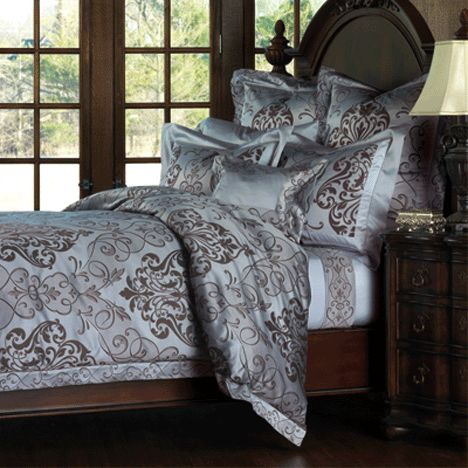 Ornato Bedding   Bring Traditional Elegance Into Your Bedroom With Gently  Spiraling Scrolls On An Azure Background. Using Premier Italian Mills,  Ornato.